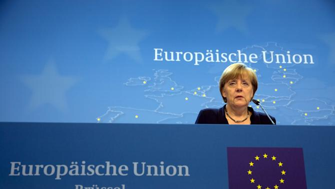 German Chancellor Merkel speaks during a news conference following a euro zone leaders summit in Brussels