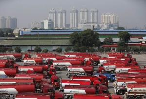 File photo of fuel tank drivers at a state-owned Pertamina fuel depot in Jakarta