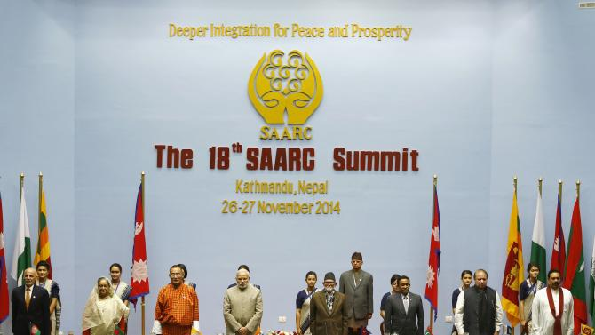 Ghani, Hasina, Tobgay, Modi, Koirala, Yameen, Sharif and Rajapaksa attend closing session of 18th SAARC summit in Kathmandu