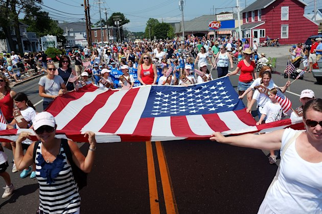 People participate in the annual Memorial Day Parade on May 28, 2012 in Fairfield, Connecticut. Across America towns and cities will be celebrating veterans of the United States Armed Forces and the sacrifices they have made. Memorial Day is a federal holiday in America and has been celebrated since the end of the Civil War.  (Photo by Spencer Platt/Getty Images)