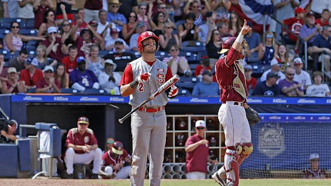North Carolina State's Bubby Riley (2) reacts after striking out during the ninth inning of an Atlantic Coast Conference NCAA college baseball tournament championship game against Florida State in Durham, N.C., Sunday, May 24, 2015. Florida State won 6-2. (AP Photo/Karl B DeBlaker)