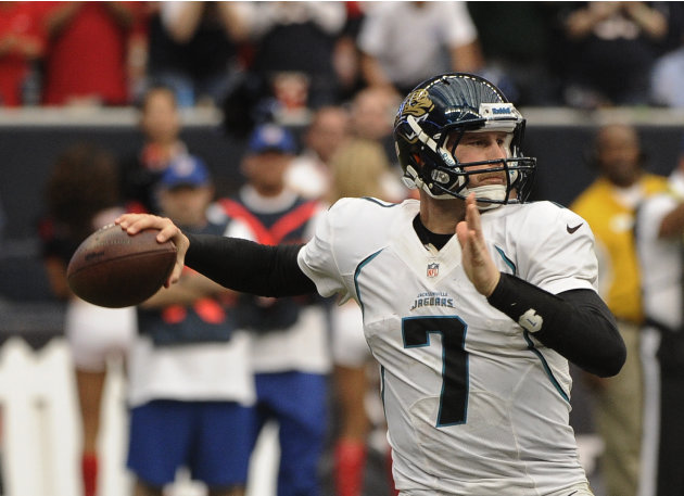 Jacksonville Jaguars quarterback Chad Henne prepares to throw a pass against the Houston Texans during the fourth quarter of an NFL football game Sunday, Nov. 18, 2012, in Houston. (AP Photo/Dave Eins