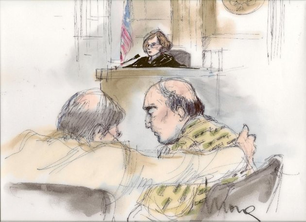This courtroom sketch shows Nakoula Basseley Nakoula talking with his attorney Steven Seiden, left, as U.S. Central District Chief Magistrate Judge Suzanne Segal presides over the proceeding Thursday Sept. 27, 2012. The federal judge on Thursday determined the California man behind a crudely produced anti-Islamic video that inflamed parts of the Middle East is a flight risk and ordered him detained. (AP Photo/Mona Shafer Edwards)