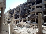 Destruction in the Qusur district of the central city of Homs on July 26, 2012. Beijing, which along with Moscow has vetoed three UN Security Council resolutions on Syria, says it wanted the United Nations to play an important role in trying to solve the deadly 17-month conflict