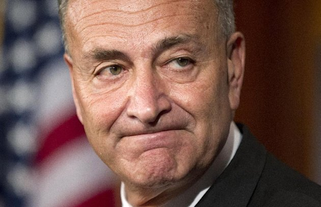 Sen. Charles Schumer, D-N.Y., talks about the Democrats and Republican tax proposals during a news conference on Capitol Hill in Washington Tuesday, July 24, 2012. (AP Photo/Manuel Balce Ceneta)