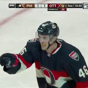 Bobby Ryan sets up Patrick Wiercioch for goal