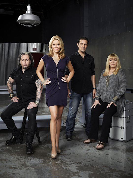 "Glenn Hetrick, McKenzie Westmore, Patrick Tatopoulos, Ve Neill in Season 2 of ""Face Off."""