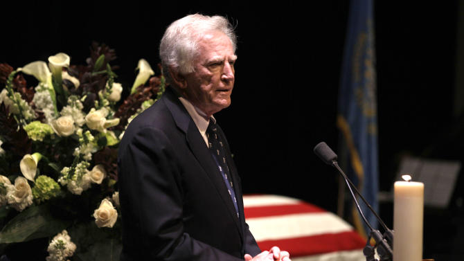 Former U.S. Sen. Gary Hart  speaks during funeral services for former Democratic U.S. Senator and three-time presidential candidate George McGovern at the Washington Pavilion of Arts and Sciences in Sioux Falls, S.D., Friday, Oct. 26, 2012. McGovern died Sunday Oct. 21, 2012, in his native South Dakota at age 90. (AP Photo/M. Spencer Green, Pool)