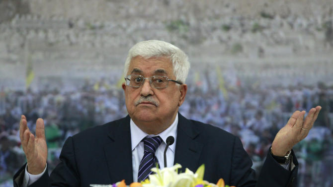 Palestinian President Mahmoud Abbas speaks during a meeting of the Palestinian leadership at his compound in the West Bank city of Ramallah, Friday, Nov. 16, 2012. Abbas said in a televised speech Friday that he has urged the U.S. and European countries to pressure Israel to halt the offensive. Abbas said he also called Gaza Prime Minister Ismail Haniyeh of Hamas and the Islamists' top leader in exile, Khaled Mashaal, calling for Palestinian unity.(AP Photo/Majdi Mohammed)