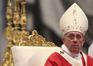 Pope Francis conducts a mass before presenting Archbishops with their palliums in Saint Peter's Basilica at the Vatican
