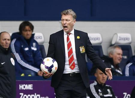Manchester United manager Moyes reacts during their English Premier League soccer match against West Bromwich Albion at The Hawthorns in West Bromwich