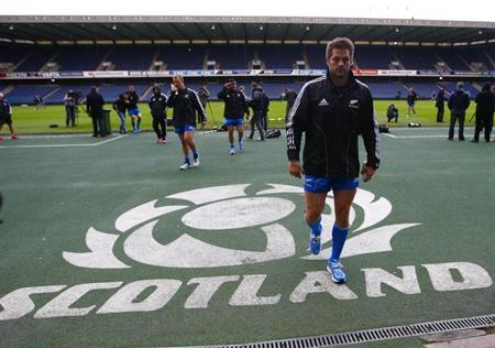 New Zealand rugby union team captain McCaw walks off after Captain's Run training session in Edinburgh, Scotland