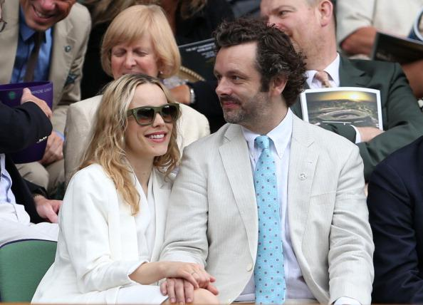 Rachel McAdams and Michael Sheen look on from the Royal Box on Centre Court ahead of the Ladies' Singles final match between Serena Williams of the USA and Agnieszka Radwanska of Polandon day twelve o