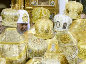 File photo of new Orthodox Patriarch Kirill receiving …