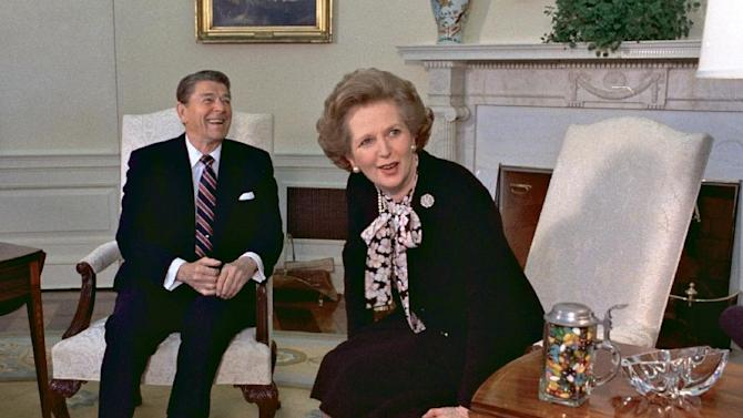 FILE - In this Feb. 20, 1985 file photo, former British Prime Minister Margaret Thatcher meets with her friend and political ally President Ronald Reagan during a visit to the White House in Washington. Thatcher, who led Britain for 11 years, died of a stroke Monday morning, April 8, 2013. (AP Photo/J. Scott Applewhite, file)