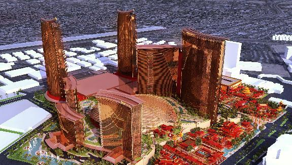 An artists rendering provided by Steelman Partners shows plans for the development of a new hotel and casino complex on the site of the stalled Echelon project in Las Vegas. The Genting Group announced the purchase of the nearly 90 acres on the Las Vegas Strip of the Boyd Gaming Corp.'s stalled project. The Asian conglomerate has plans for a phased, multi-billion dollar development that would include 3,500 hotel rooms, a convention center and gambling, dining and retail. (AP Photo/Steelman Partners)