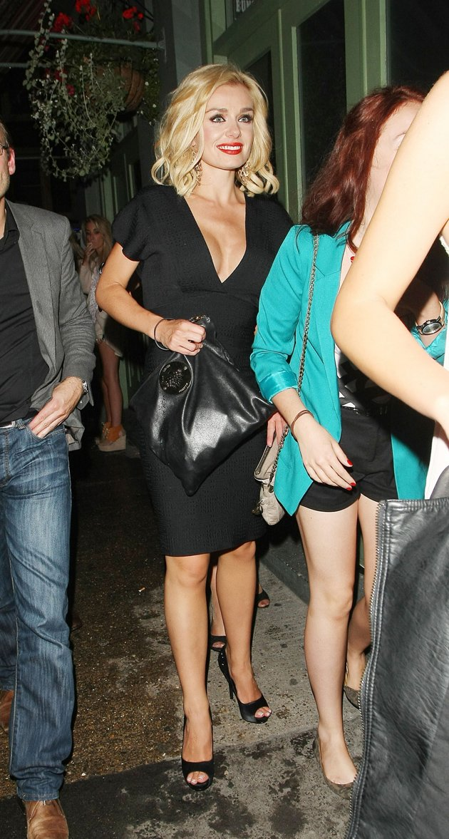 Katherine Jenkins tight black dress