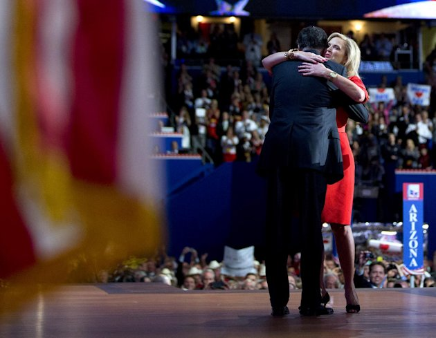 Republican presidential candidate, former Massachusetts Gov. Mitt Romney hugs his wife Ann, after she delivered a speech at the Republican National Convention on Tuesday, Aug. 28, 2012 in Tampa, Fla.