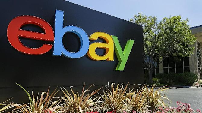 This Tuesday, July 16, 2013, photo shows an eBay sign at eBay headquarters in San Jose, Calif. The company reports quarterly earns on Wednesday, July 17, 2013. (AP Photo/Ben Margot)