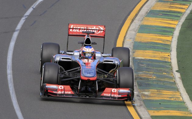 McLaren Formula One driver Jenson Button of Britain drives during the first practice session of the Australian F1 Grand Prix at the Albert Park circuit in Melbourne