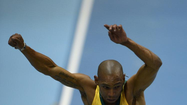 South Africa's Visser competes in the men's long jump qualification at world indoor athletics championships in Sopot
