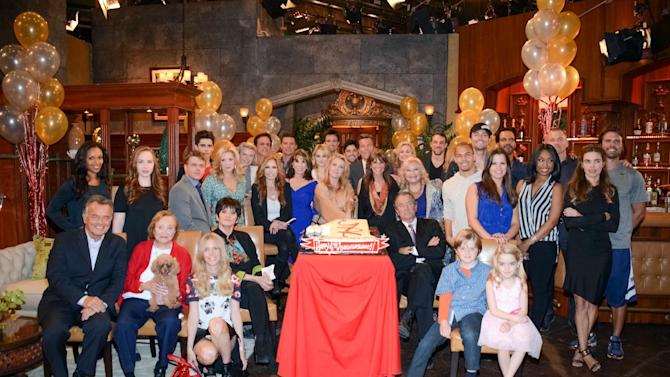 """The cast of """"The Young and the Restless"""" poses for a photo at """"The Young and the Restless"""" 41st Anniversary, on Tuesday, March 25, 2014, in Los Angeles. (Photo by Tonya Wise/Invision/AP)"""