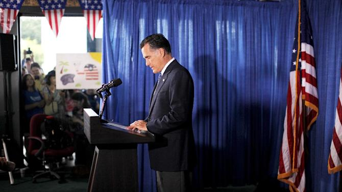 Republican presidential candidate, former Massachusetts Gov. Mitt Romney makes comments on the killing of U.S. embassy officials in Benghazi, Libya, while speaking in Jacksonville, Fla.,  Wednesday, Sept. 12, 2012. (AP Photo/Charles Dharapak)