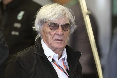 Formula One supremo Bernie Ecclestone walks in the Mercedes team garage during the third practice session of the Canadian F1 Grand Prix in Montreal