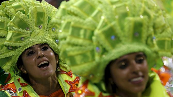 Revellers of Mocidade samba school perform during the carnival parade at the Sambadrome in Rio de Janeiro