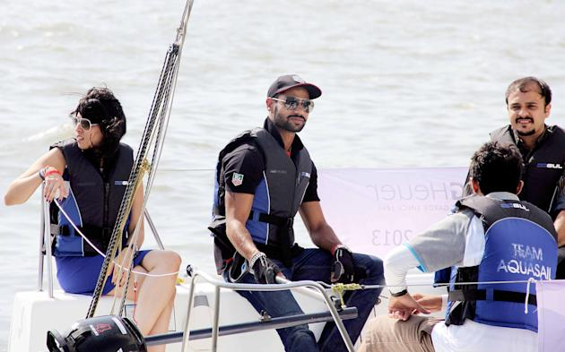 Shikhar Dhawan at a boating race held at the Gateway of India