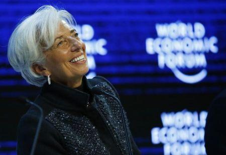 """Lagarde Managing Director of the IMF attends  the session """"The Global Economic Outlook"""" during the annual meeting of the World Economic Forum in Davos"""