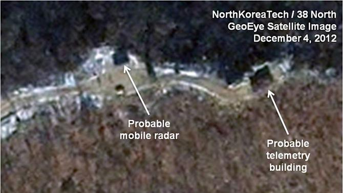 This Dec. 4, 2012 satellite image taken by GeoEye and annotated and distributed by North Korea Tech and 38 North shows the Sohae launching station in Tongchang-ri, North Korea. New satellite images show that heavy snowfall may have slowed North Korean rocket launch preparations but that Pyongyang could still be ready for liftoff starting Monday, Dec. 10. This image was shared with the AP by the 38 North and North Korea Tech websites, which collaborate on analysis of the satellite imagery. (AP Photo/GeoEye via North Korea Tech and 38 North) MANDATORY CREDIT