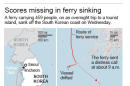 Map path of ferry, location of ship sinking and a diagram the vessel, South Korea.; 2c x 8 inches; 96.3 mm x 203 mm;