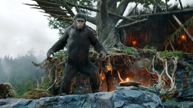 "This photo released by Twentieth Century Fox Film Corporation shows Andy Serkis as Caesar in a scene from the film, ""Dawn of the Planet of the Apes."" (AP Photo/Twentieth Century Fox Film Corporation)"