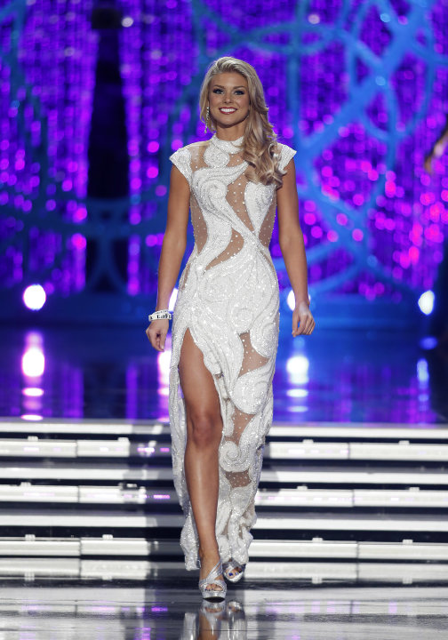 Miss South Carolina Ali Rogers competes in the evening gown portion of the Miss America 2013 pageant on Saturday, Jan. 12, 2013, in Las Vegas. Rogers was named first runner-up. (AP Photo/Isaac Brekken