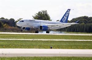Bombardier's CSeries aircraft lands after its first test flight in Mirabel, Quebec