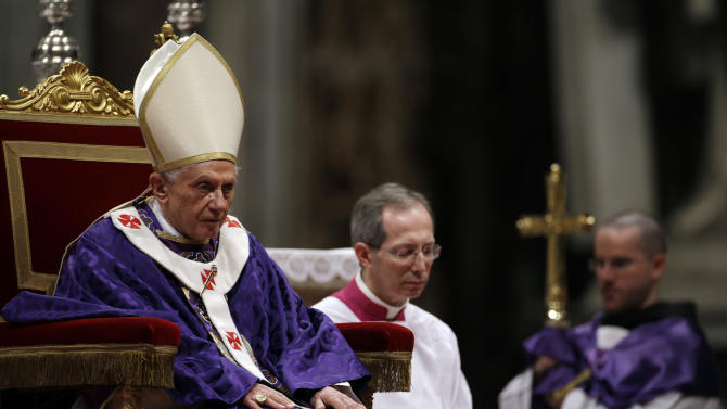 """Pope Benedict XVI celebrates the Ash Wednesday mass in St. Peter's Basilica at the Vatican, Wednesday, Feb. 13, 2013.  Ash Wednesday marks the beginning of Lent, a solemn period of 40 days of prayer and self-denial leading up to Easter. Pope Benedict XVI told thousands of faithful Wednesday that he was resigning for """"the good of the church"""", an extraordinary scene of a pope explaining himself to his flock that unfolded in his first appearance since dropping the bombshell announcement. (AP Photo/Gregorio Borgia)"""