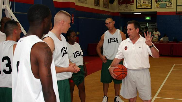 Michigan State Spartans Head Coach Tom Izzo coaching at Operation Hardwood II Basketball Tournament