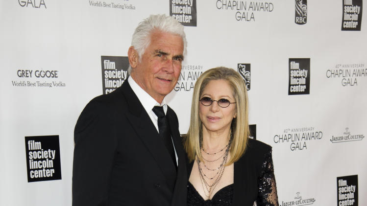 Honoree Barbra Streisand, right, and James Brolin attend the Film Society of Lincoln Center's 40th Annual Chaplin Award Gala on Monday, April 22, 2013, in New York. (Photo by Charles Sykes/Invision/AP)