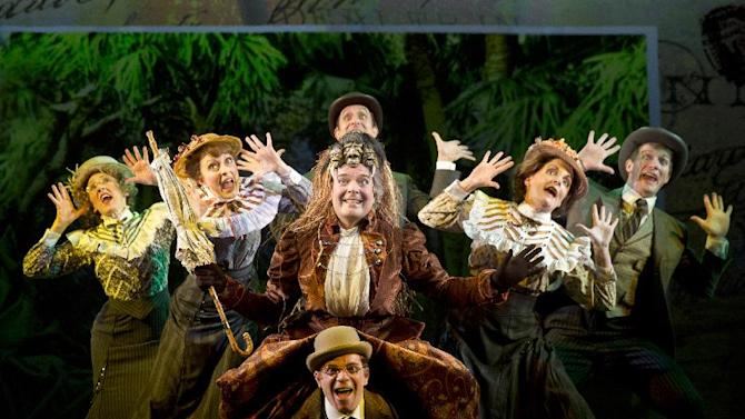 "This theater image released by The O+M Company Jefferson Mays, center, during a performance of ""A Gentleman's Guide to Love and Murder,"" at the Walter Kerr Theatre in New York. (AP Photo/The O+M Company, Joan Marcus)"