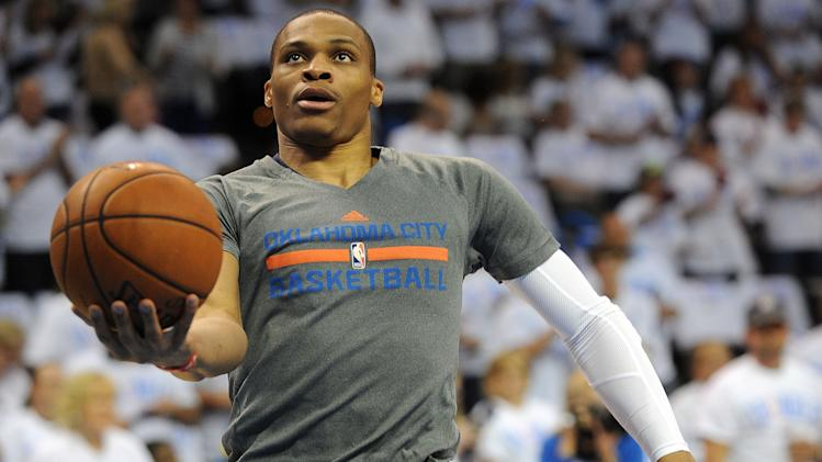 Russell Westbrook's steal and dunk highlight active 1st half of…