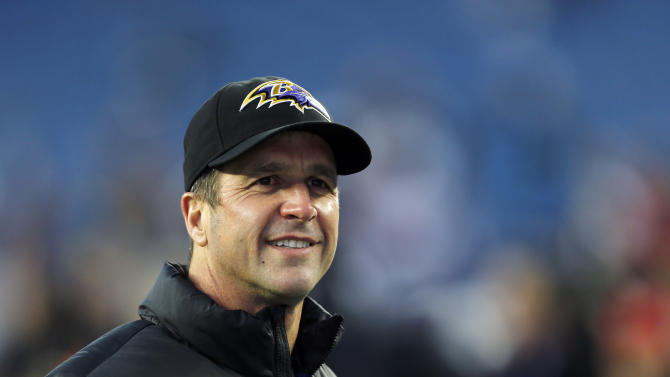 Baltimore Ravens head coach John Harbaugh waits for the start of the NFL football AFC Championship football game against the New England Patriots in Foxborough, Mass., Sunday, Jan. 20, 2013. (AP Photo/Charles Krupa)