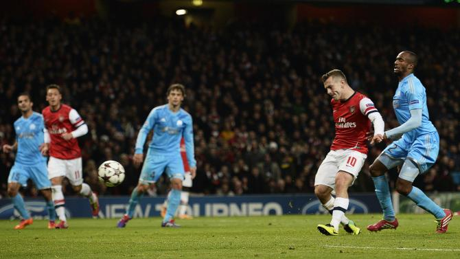 Arsenal's Wilshere scores a goal against Olympique Marseille during their Champions League soccer match at the Emirates stadium in London