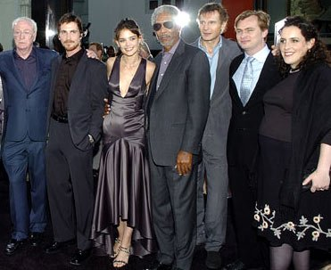 Michael Caine , Christian Bale , Katie Holmes , Morgan Freeman , Liam Neeson , director Christopher Nolan and producer Emma Thomas at the Hollywood premiere of Warner Bros. Pictures' Batman Begins