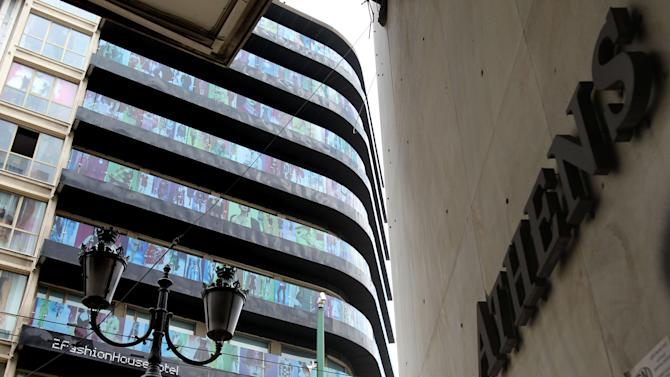 The 2Fashion House Hotel is seen closed at the Omonia square in central Athens on Thursday, May 31, 2012. Over 20 hotels have been forced to close over the past two years in the Greek capital as a result of Greece's acute financial crisis. (AP Photo/Thanassis Stavrakis)