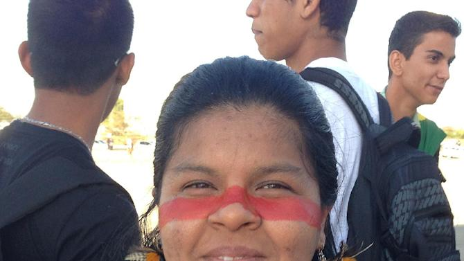 "Sonia Guajajara poses for a photo during an anti-government protest in Brasilia, Brazil, Thursday, June 20, 2013. The 38-year-old community leader from the northern state of Maranhao says, ""We are struggling for the rights of indigenous people, which are being trampled on. Brazil has now awoken but it was the indigenous people who were the first to awake when we began a movement for our rights to land."" (AP Photo/Marco Sibaja)"