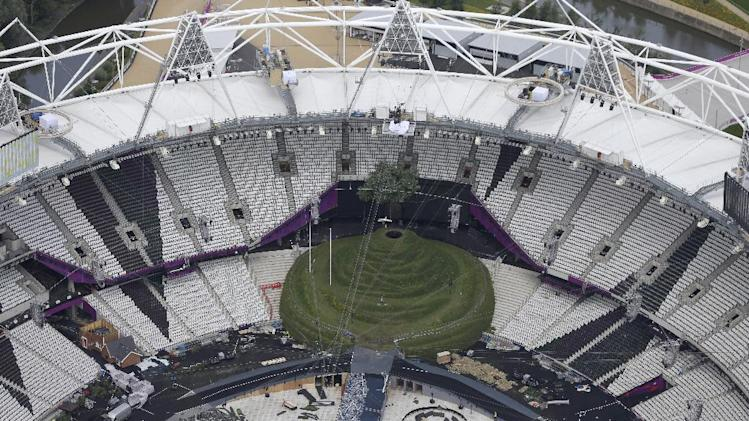 An aerial view of the London 2012 Olympic Stadium in east London, Friday, July 13, 2012, as its is prepared for the opening ceremony for the 2012 Olympic summer games which start on July 27. (AP Photo/Alastair Grant)