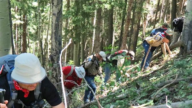 In this June 26, 2013 photo provided by the La Plata County's Sheriff's Office, searchers look for evidence pertaining to a missing boy, Dylan Redwine, who disappeared in southwest Colorado last November. About 45 officers spent five days searching a 12-mile stretch of Middle Mountain Road looking for clues in the case. La Plata County investigators hope some of the first clues found since a 13-year-old boy disappeared last November will help solve the mystery. Sheriff's spokesman Dan Bender said in a statement Wednesday, June 26, 2013 that further investigation, interviews and laboratory testing will determine if any of the items are related to the disappearance of Dylan Redwine. (AP Photo/La Plata County's Sheriff's Office)