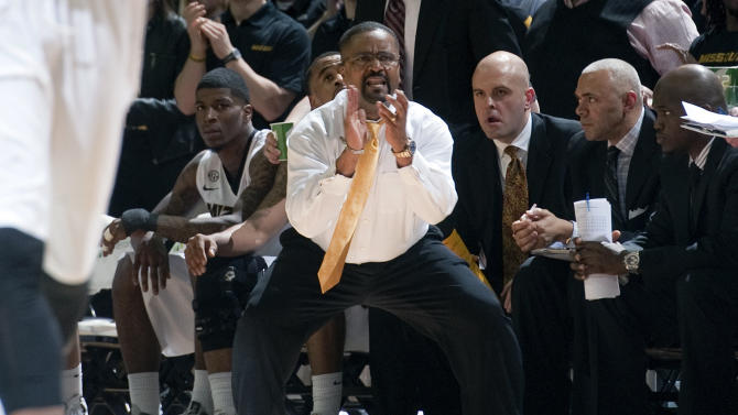 Missouri head coach Frank Haith encourages his team during the second half of an NCAA college basketball game against Florida on Tuesday, Feb. 19, 2013, in Columbia, Mo. Missouri won the game 63-60. (AP Photo/L.G. Patterson)
