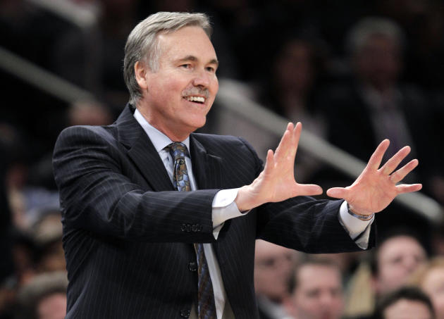FILE - In this Feb. 22, 2012, file photo, then-New York Knicks coach Mike D'Antoni gestures in the second half of an NBA basketball game against the Atlanta Hawks in  New York. D'Antoni's agent says t